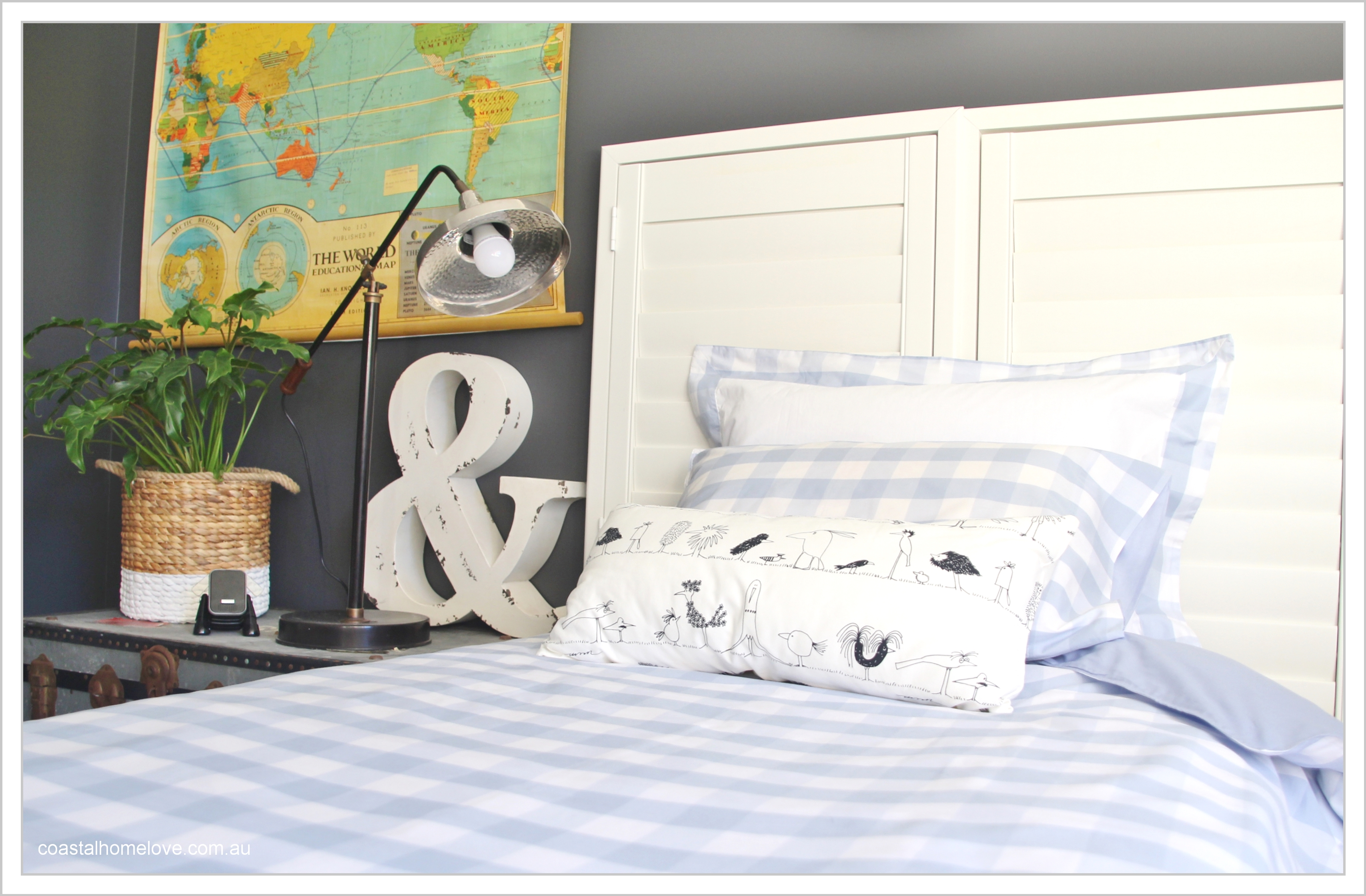 Styling coastal home love the vintage style world map is from typo basket is from big w chest was a vintage find lamp was from horgans the oar was another diy project gumiabroncs Choice Image